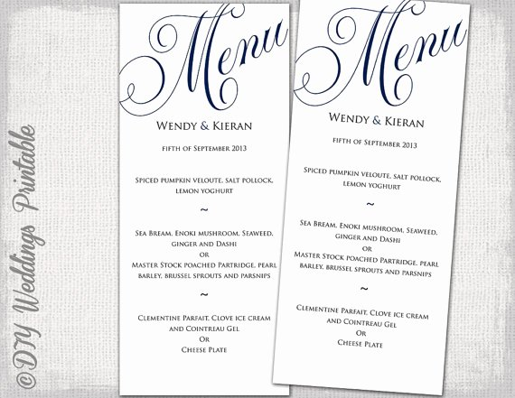 Free Wedding Menu Templates Beautiful Wedding Menu Template Navy Blue Wedding Menu Diy Wedding Menu