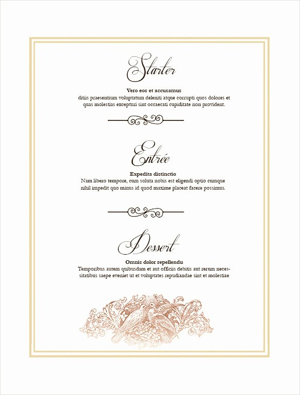 Free Wedding Menu Templates Elegant 36 Wedding Menu Templates Ai Psd Google Docs Apple