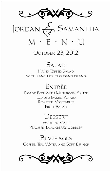 Free Wedding Menu Templates Elegant Wedding Menu Templates