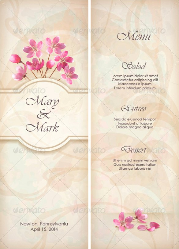 Free Wedding Menu Templates Fresh 36 Wedding Menu Templates Ai Psd Google Docs Apple