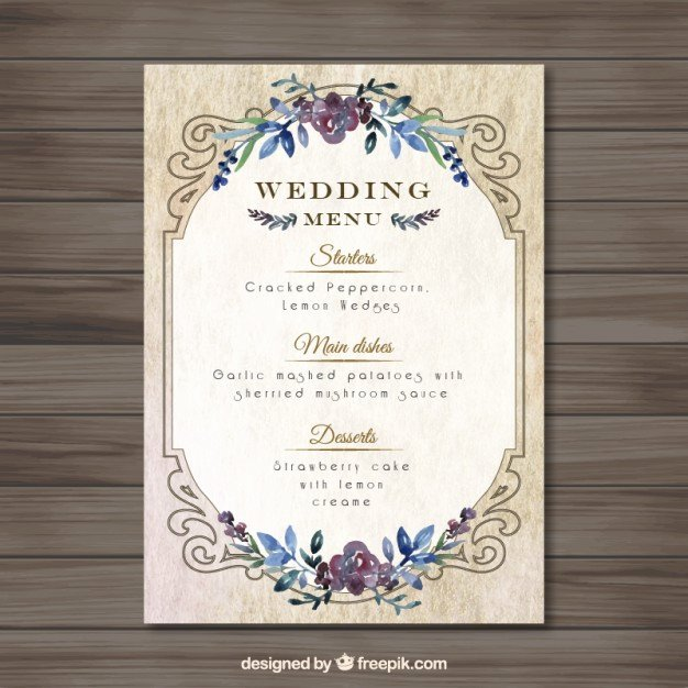 Free Wedding Menu Templates Fresh Vintag Wedding Menu Template Vector