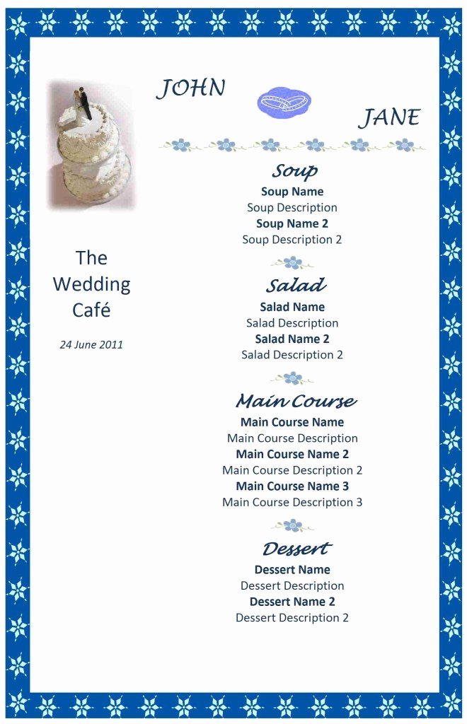 Free Wedding Menu Templates Inspirational Wedding Menu