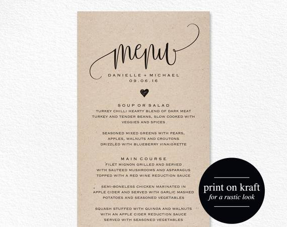 Free Wedding Menu Templates Luxury Rustic Wedding Menu Wedding Menu Template Menu Cards Menu
