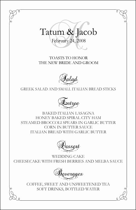 Free Wedding Menu Templates Luxury Wedding Menu Templates