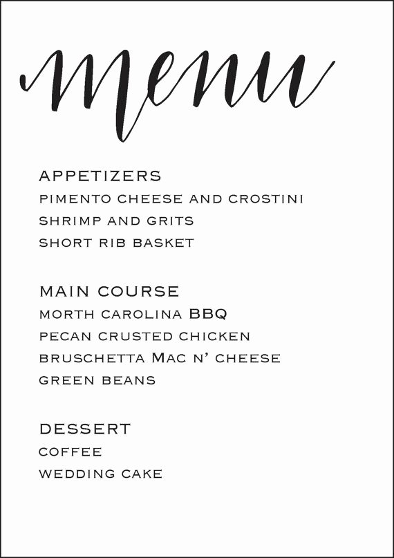Free Wedding Menu Templates Luxury Wedding Reception Menu 5x7