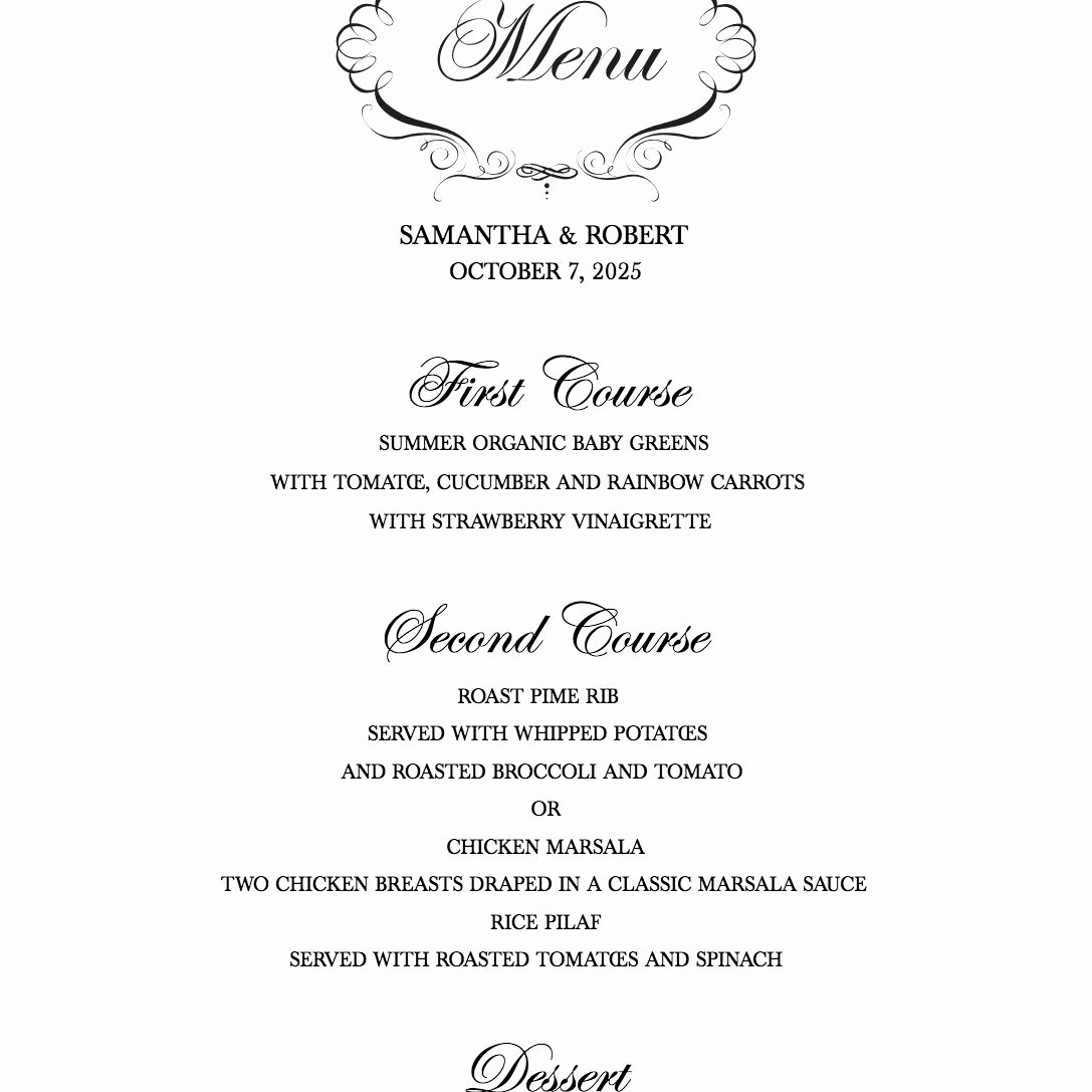 Free Wedding Menu Templates New Download A Free Wedding Menu Template