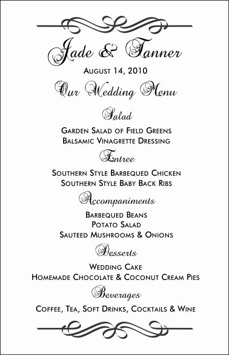 Free Wedding Menu Templates New Free Printable Menu Templates and More