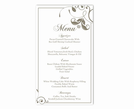Free Wedding Menu Templates New Wedding Menu Template Diy Menu Card Template Editable Text