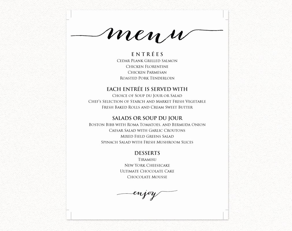 Free Wedding Menu Templates New Wedding Menu Templates · Wedding Templates and Printables