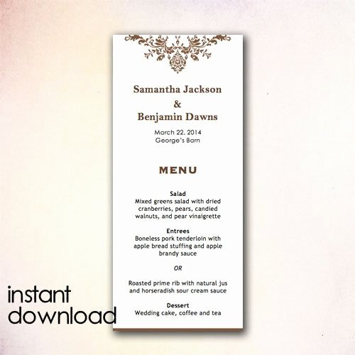 Free Wedding Menu Templates Unique Diy Wedding Menu Template Instant Download by Cheapobride