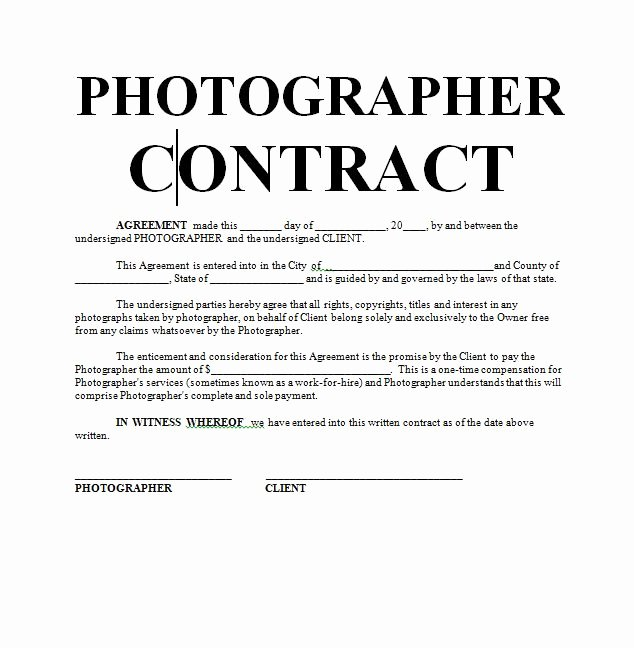 Free Wedding Photography Contract Template Awesome Graphy Contract
