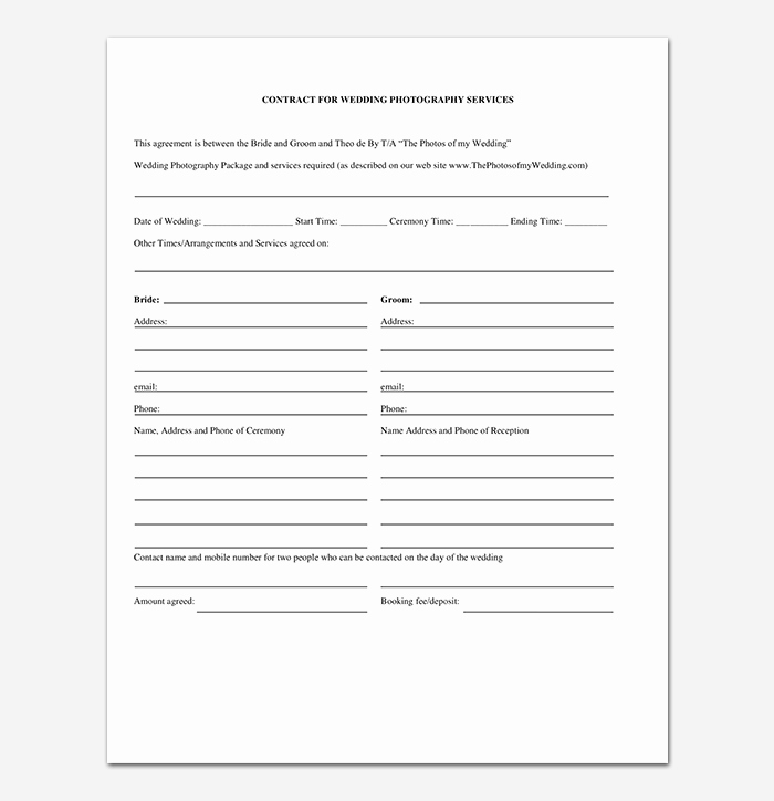 Free Wedding Photography Contract Template Beautiful Graphy Contract Template 40 Free In Word Pdf