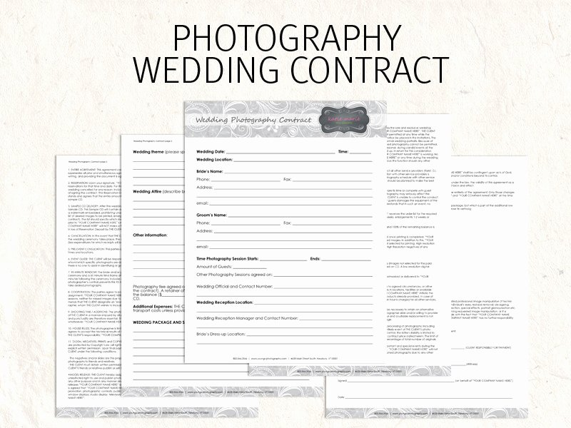 Free Wedding Photography Contract Template Elegant Wedding Graphy Contract Business forms Flowers Editable