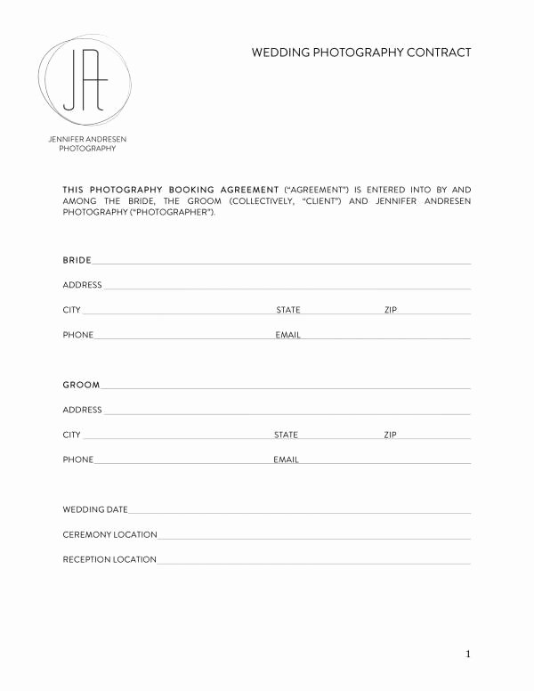 Free Wedding Photography Contract Template Fresh Free 11 Wedding Planner Contract Template In Pdf