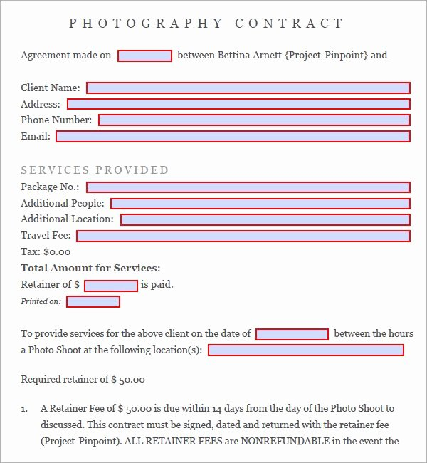 Free Wedding Photography Contract Template Fresh Graphy Contract 7 Free Pdf Download