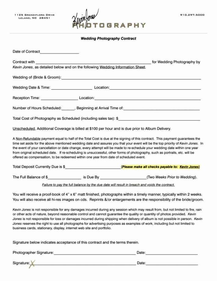 Free Wedding Photography Contract Template Fresh Portrait Graphy Contract Template Sampletemplatess
