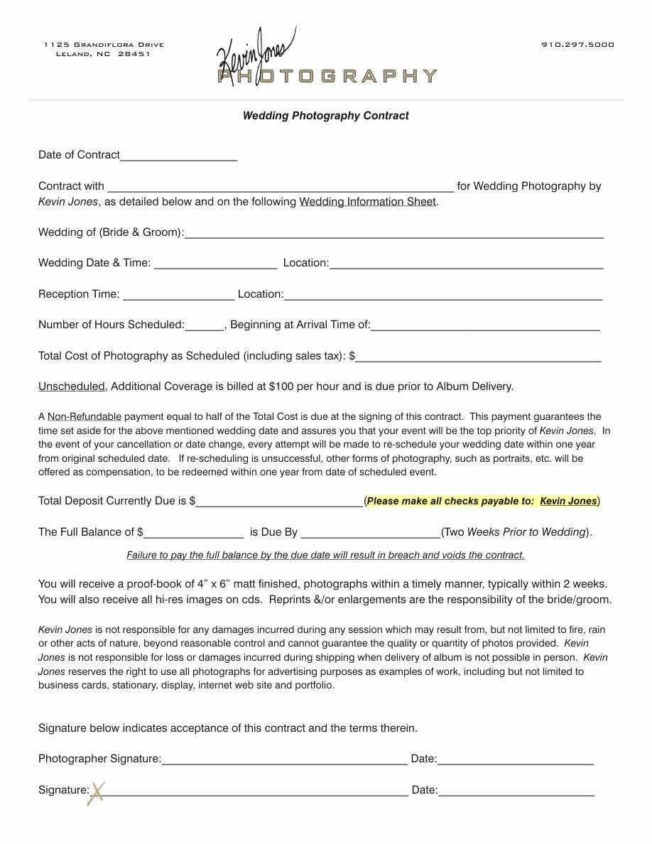 Free Wedding Photography Contract Template Fresh Wedding Photography Contract