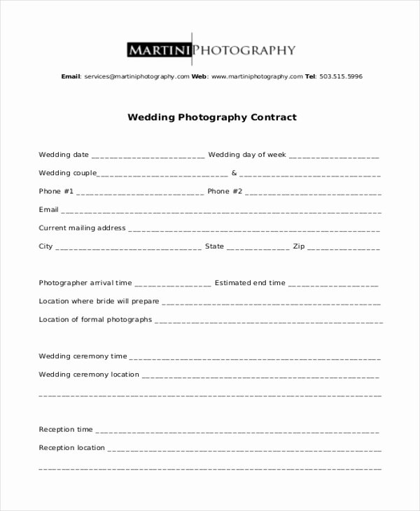 Free Wedding Photography Contract Template Inspirational Sample Graphy Contract form 10 Free Documents In