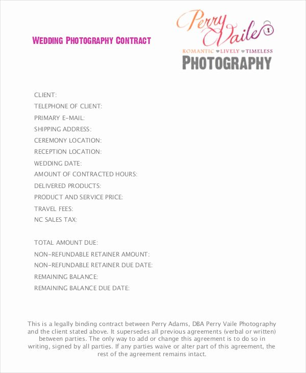 Free Wedding Photography Contract Template Luxury 9 Wedding Contract Samples Pdf Word Google Docs