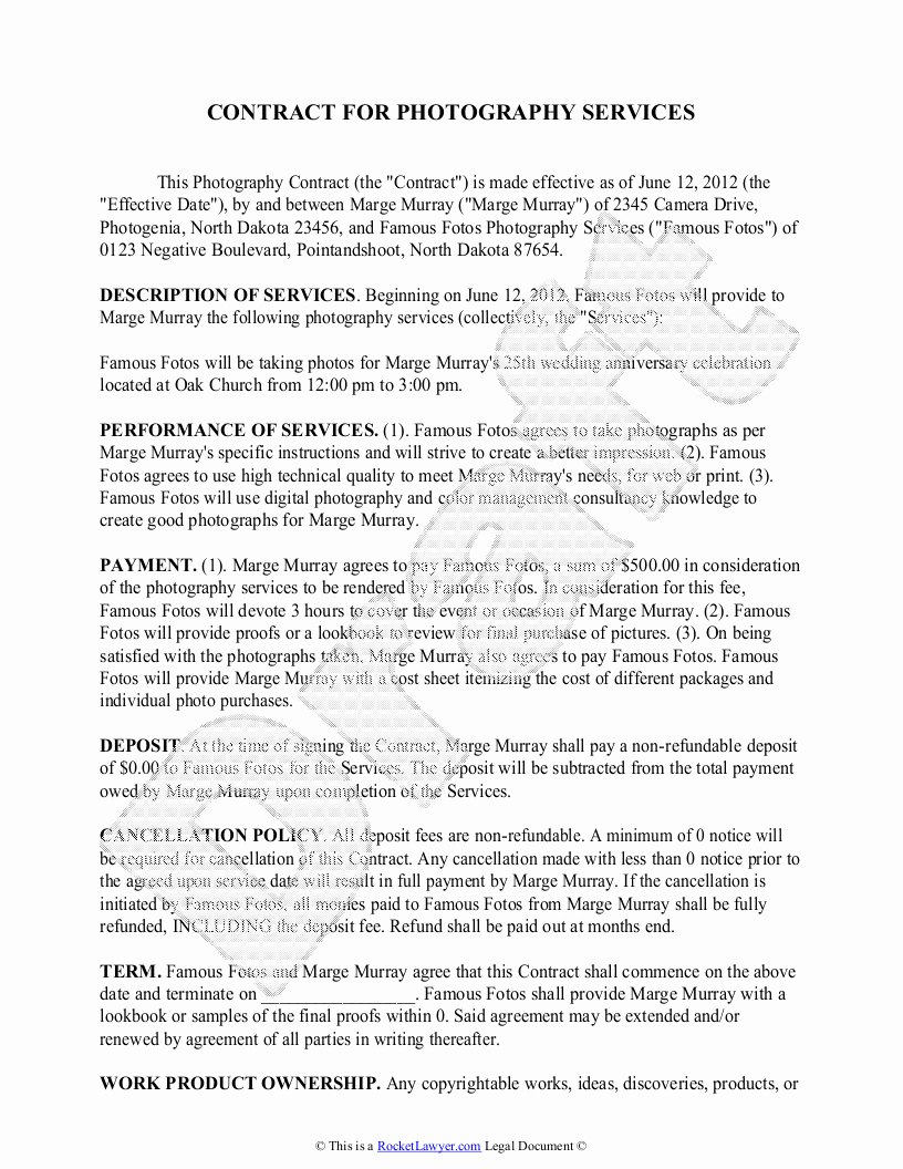 Free Wedding Photography Contract Template Luxury Portrait Graphy Contract – Emmamcintyrephotography