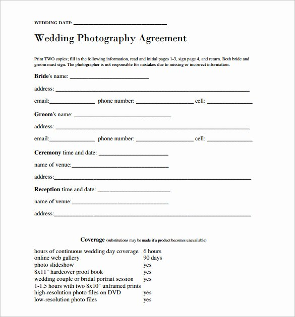 Free Wedding Photography Contract Template Luxury Wedding Contract Template 24 Download Free Documents