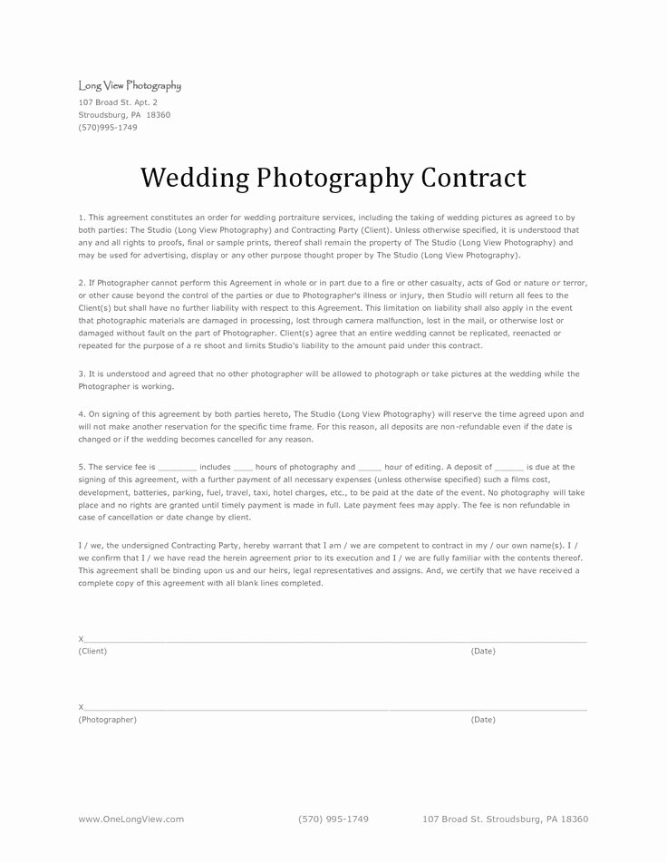 Free Wedding Photography Contract Template New 11 Best Images About Wedding Photography Contract Template