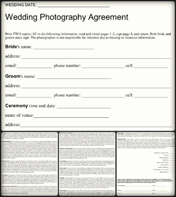 Free Wedding Photography Contract Template New 5 Sample Wedding Graphy Contract Templates Word Pdf