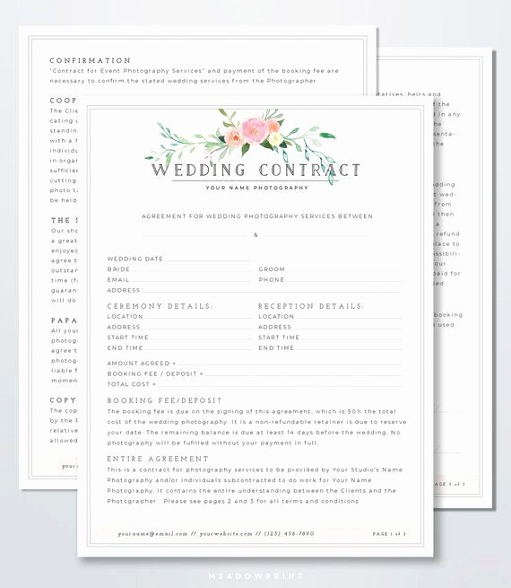Free Wedding Photography Contract Template New Wedding Graphy Contract Template Client Booking