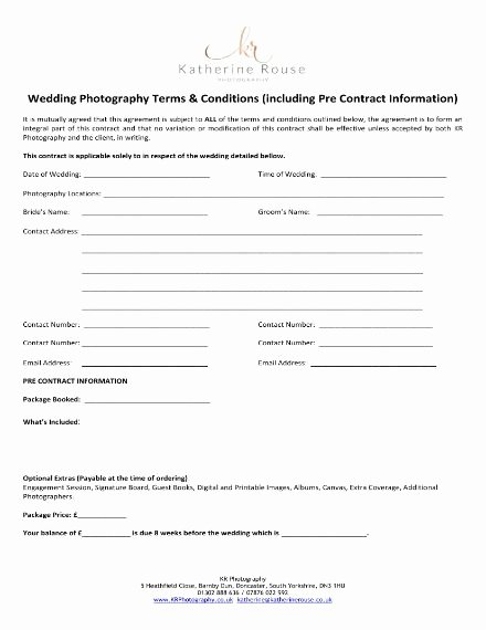 Free Wedding Photography Contract Template Unique 6 Wedding Graphy Contract Templates