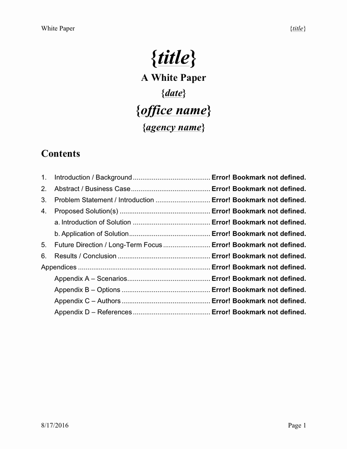 Free White Paper Template Elegant White Paper Templates formats Examples In Word Excel