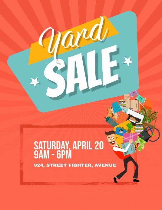 yard garage sale flyer poster design template