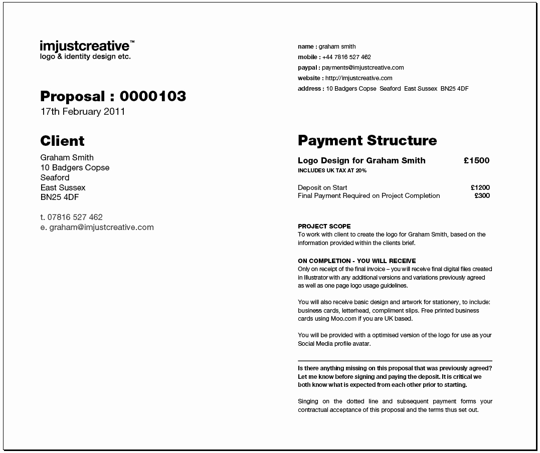 Freelance Graphic Design Proposal Template Awesome Freelance Logo Design Proposal Template for Download