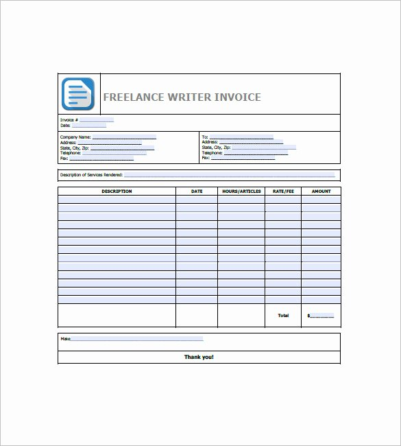 Freelance Writer Invoice Template Beautiful Freelancer Invoice Template 15 Free Word Excel Pdf
