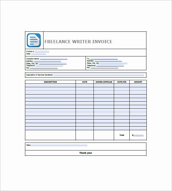 Freelance Writer Invoice Template Fresh Freelance Invoice Template 9 Free Word Excel Pdf