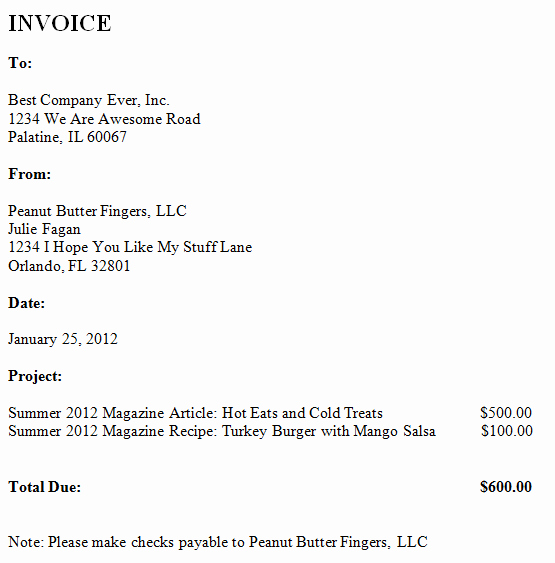 Freelance Writer Invoice Template Unique Freelance Invoice Peanut butter Fingers