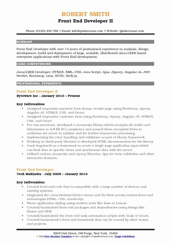 Front End Developer Resume Template Awesome Front End Developer Resume Samples