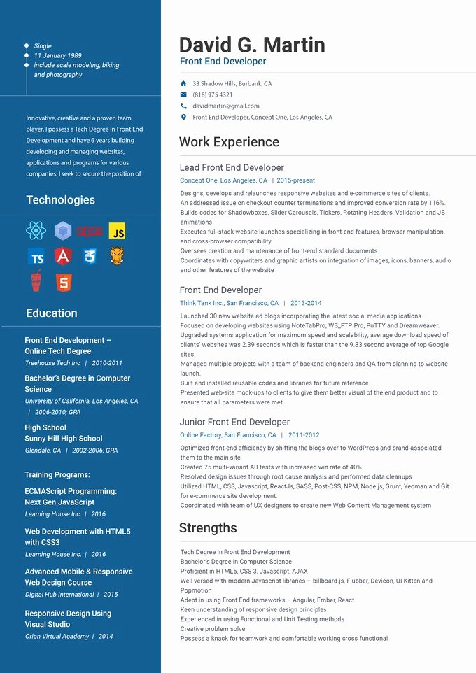 Front End Developer Resume Template Awesome Front End Web Developer Resume Front End Developer Resume