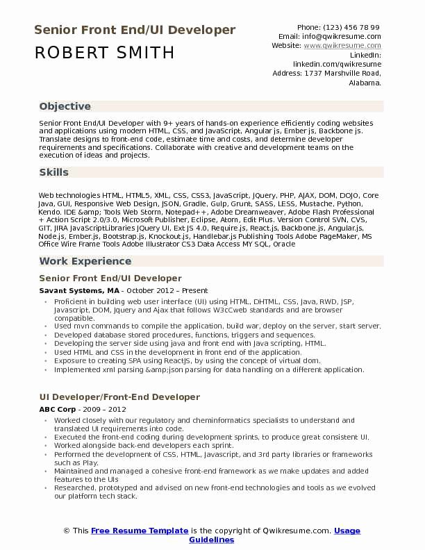 Front End Developer Resume Template Beautiful Front End Ui Developer Resume Samples