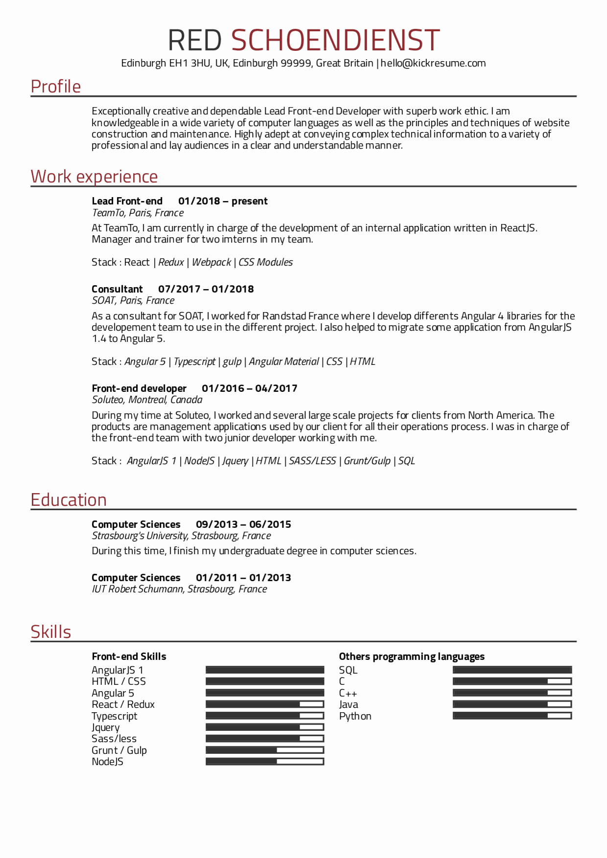 Front End Developer Resume Template Beautiful Resume Examples by Real People Teamto Lead Front End
