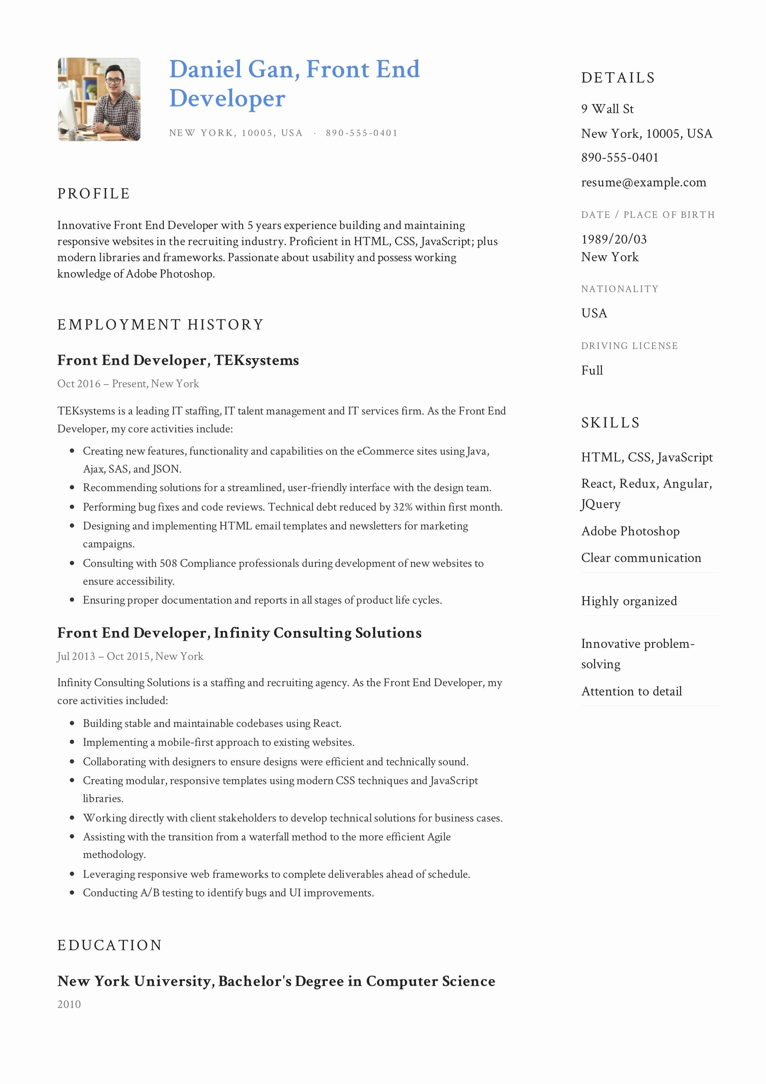 Front End Developer Resume Template Best Of Guide Front End Developer Resume [ 12 Samples ]