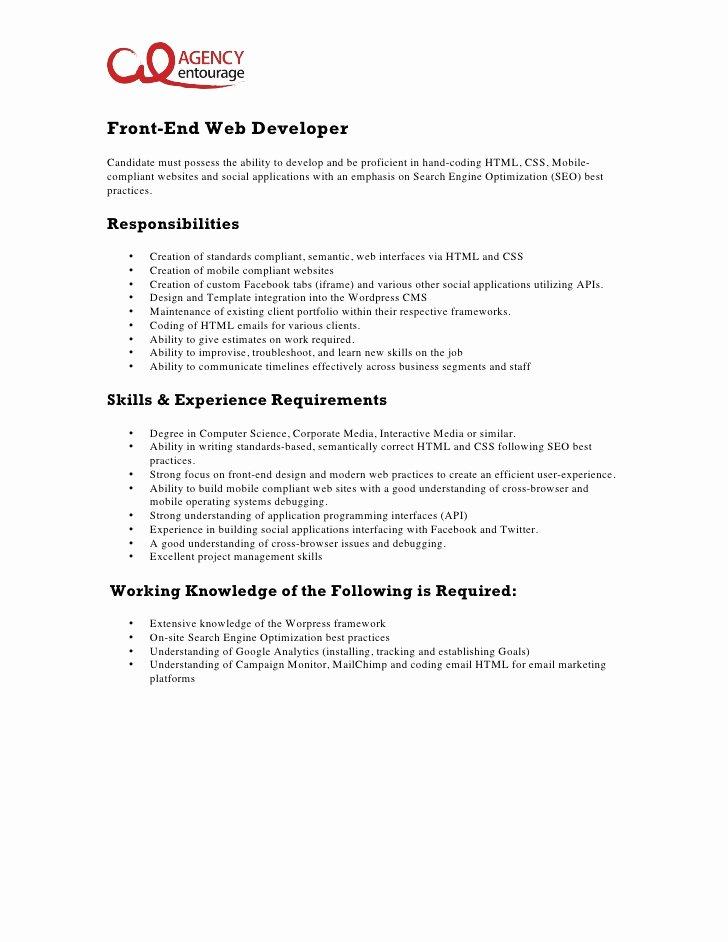 Front End Developer Resume Template Elegant Entry Level Front End Web Developer Job Description
