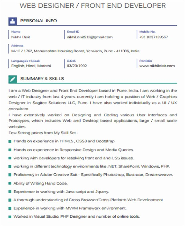 Front End Developer Resume Template Inspirational Sample Front End Developer Resume 7 Examples In Word Pdf