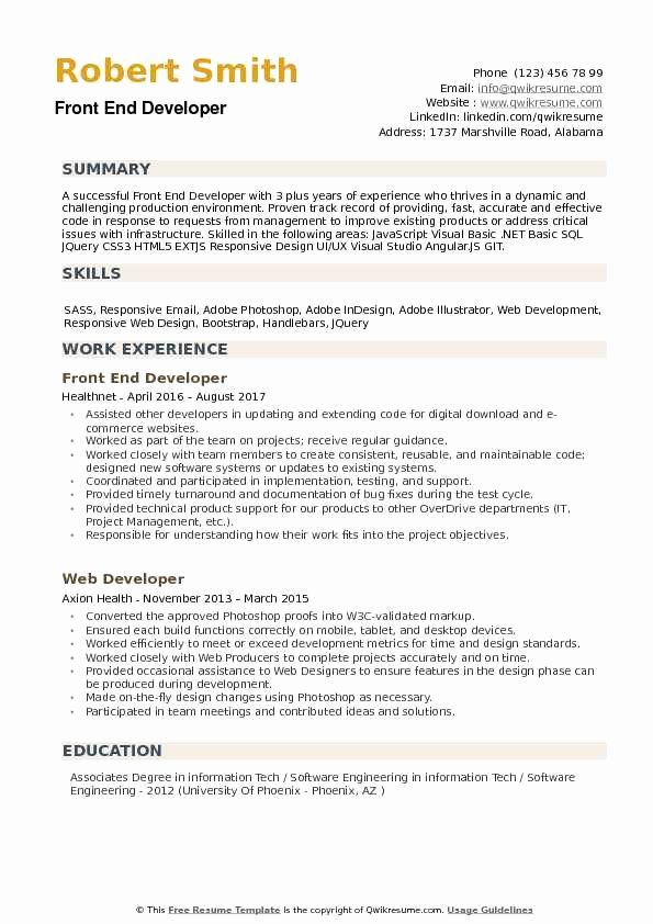 Front End Developer Resume Template Lovely Front End Developer Resume Samples