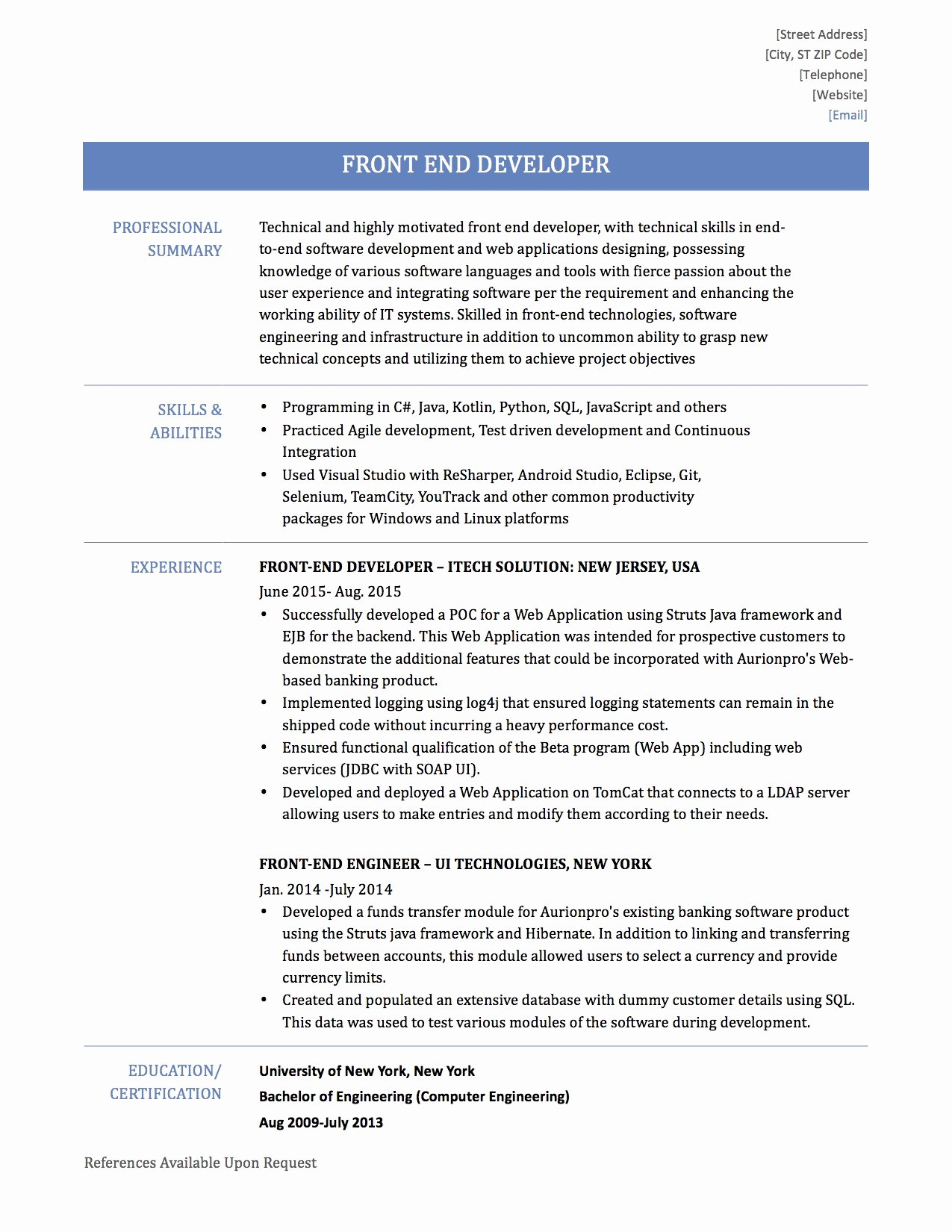 Front End Developer Resume Template Lovely How to Write A Front End Developer Resume – Line Resume