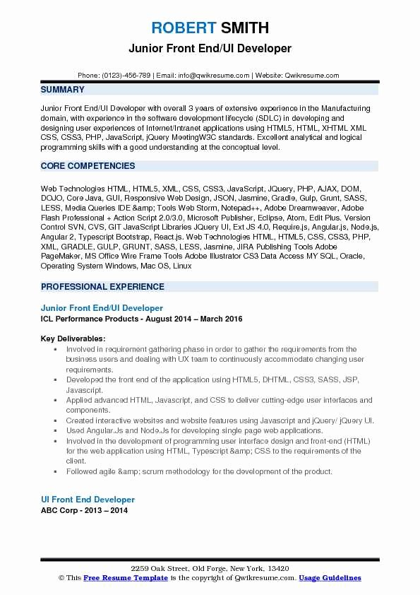 Front End Developer Resume Template Luxury Front End Ui Developer Resume Samples