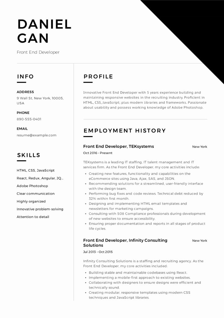 Front End Developer Resume Template Luxury Guide Front End Developer Resume [ 12 Samples ]