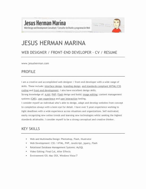 Front End Developer Resume Template Unique Front End Developer Resume