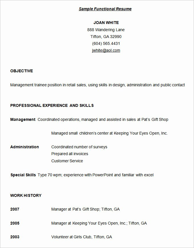 Functional Resume Template Free Best Of Functional Resume Template – 15 Free Samples Examples