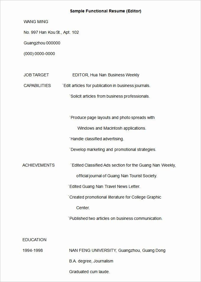 Functional Resume Template Free Fresh Functional Resume Template – 15 Free Samples Examples