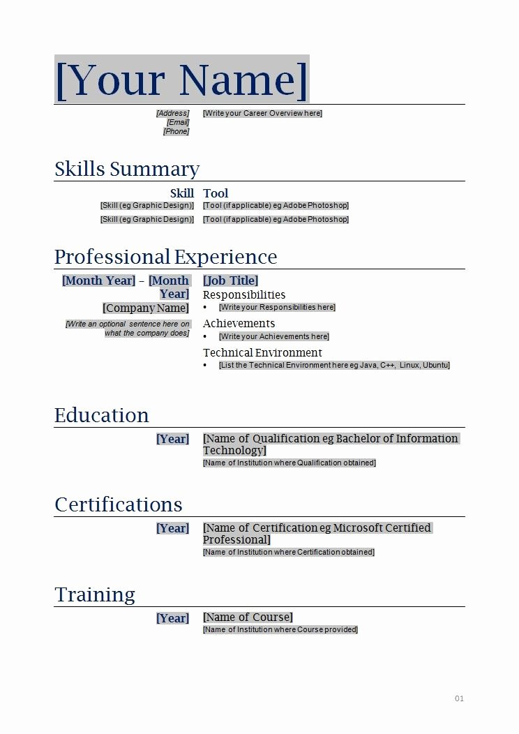 Functional Resume Template Free New Free Blanks Resumes Templates